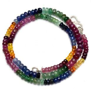 112 ct. Natural Emerald, Ruby & Sapphire Beads Necklace