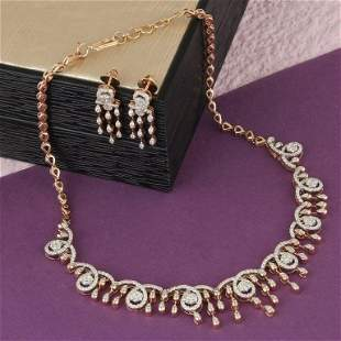 IGI Certified 14K Rose Gold Diamond Necklace & Earrings