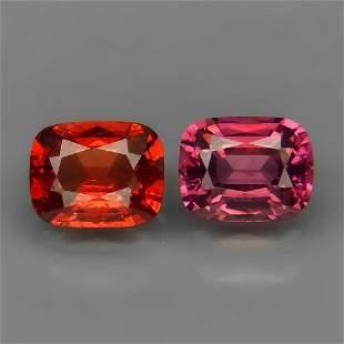 0.91 ct. Pair of Red & Pink Spinels - BURMA, MYANMAR