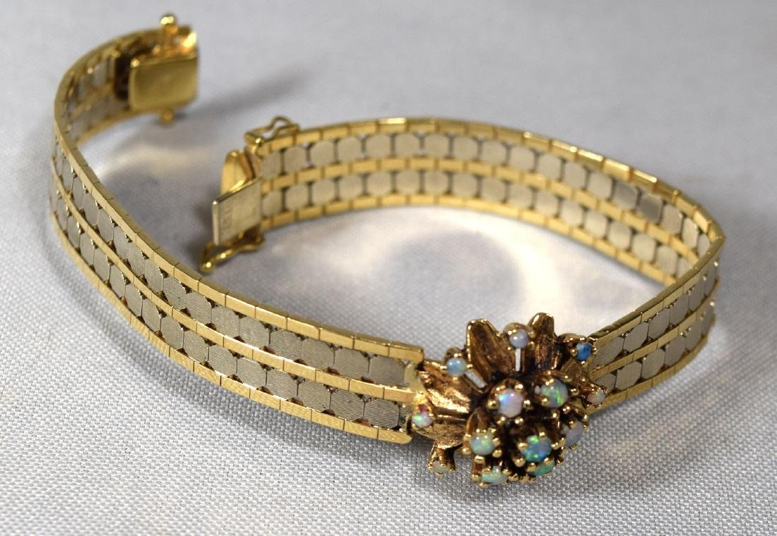 14KT TWO TONE GOLD BRACELET with OPAL & GOLD DOME RING