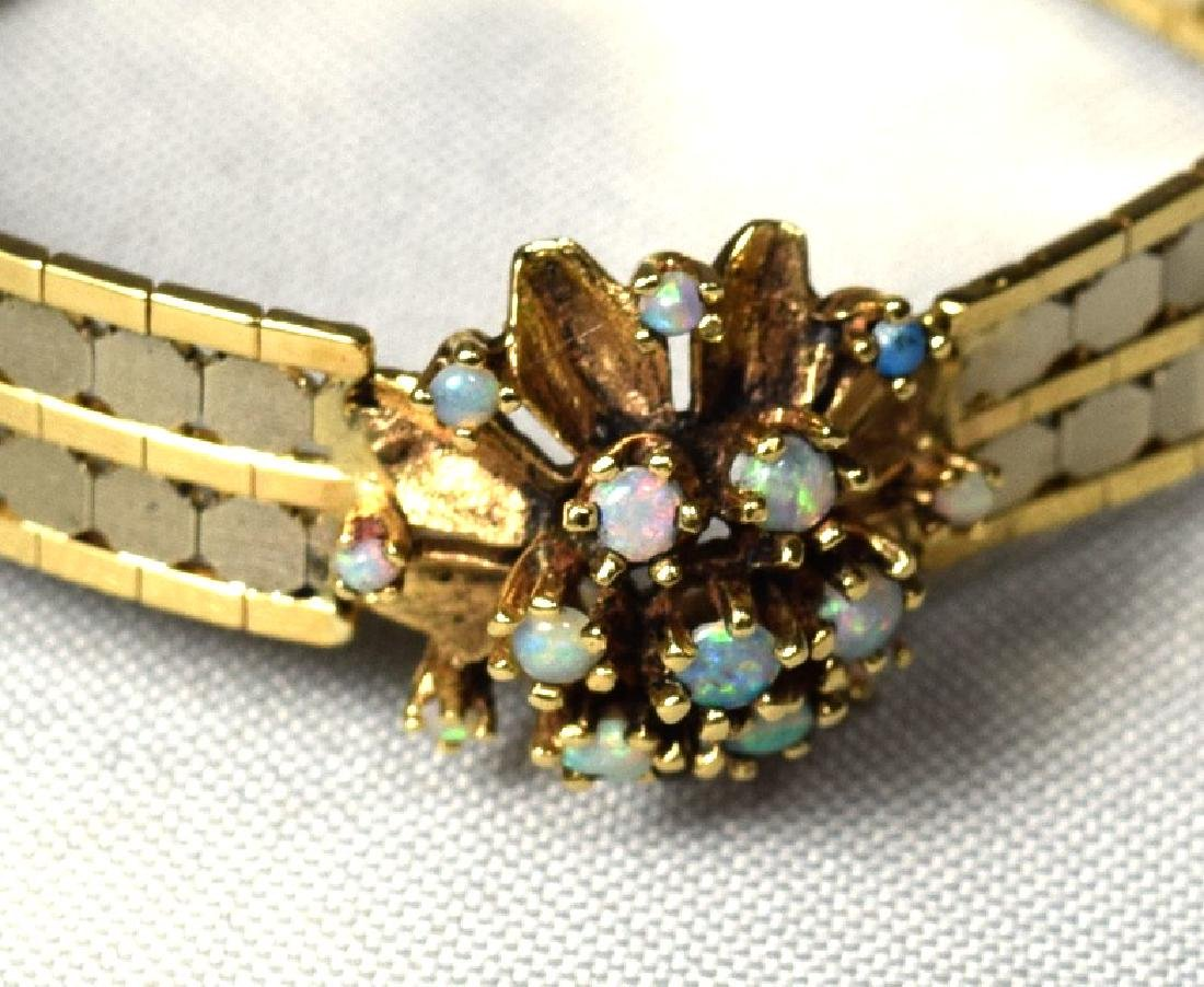 14KT TWO TONE GOLD BRACELET with OPAL & GOLD DOME RING - 4