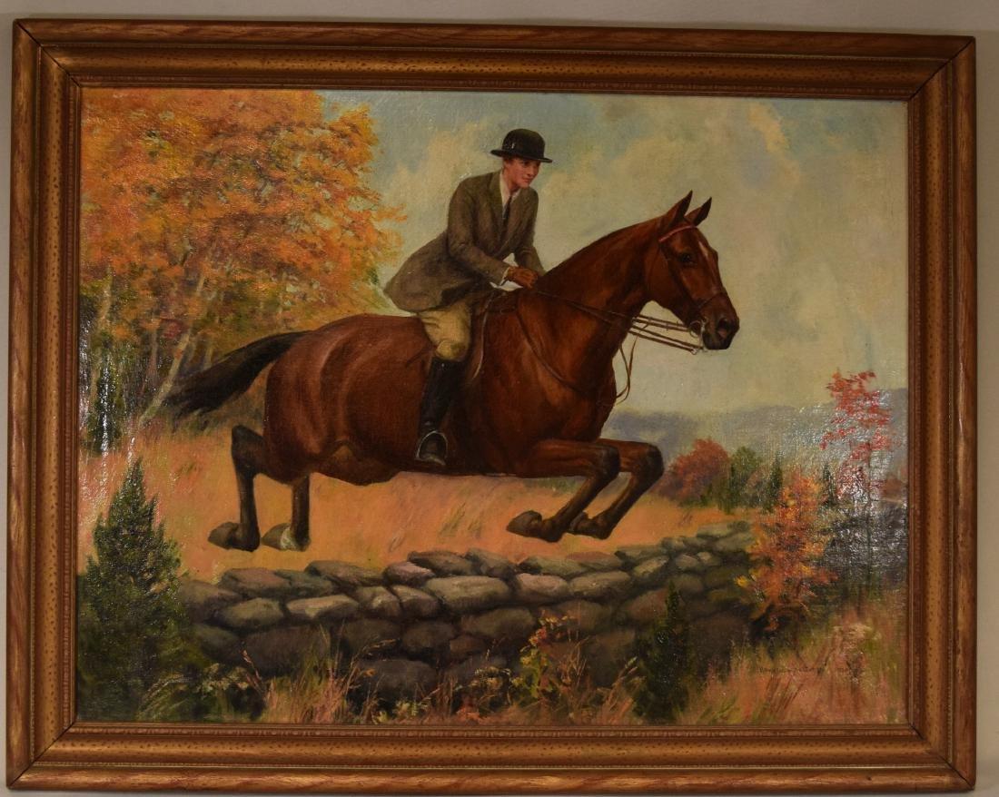 HOWARD HASTINGS OIL PAINTING HORSE & RIDER: