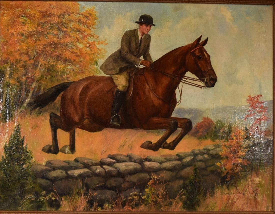HOWARD HASTINGS OIL PAINTING HORSE & RIDER: - 2