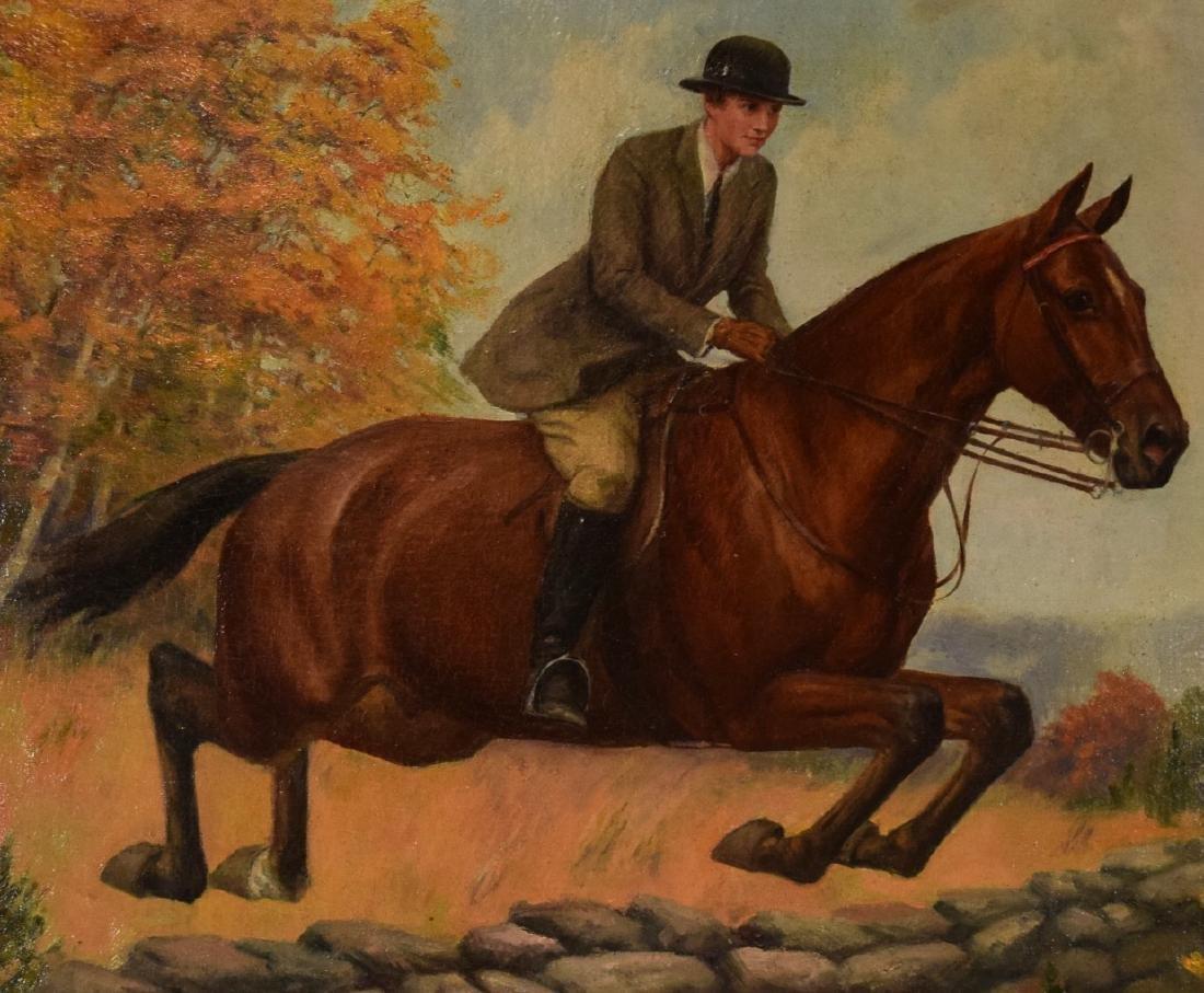 HOWARD HASTINGS OIL PAINTING HORSE & RIDER: - 3