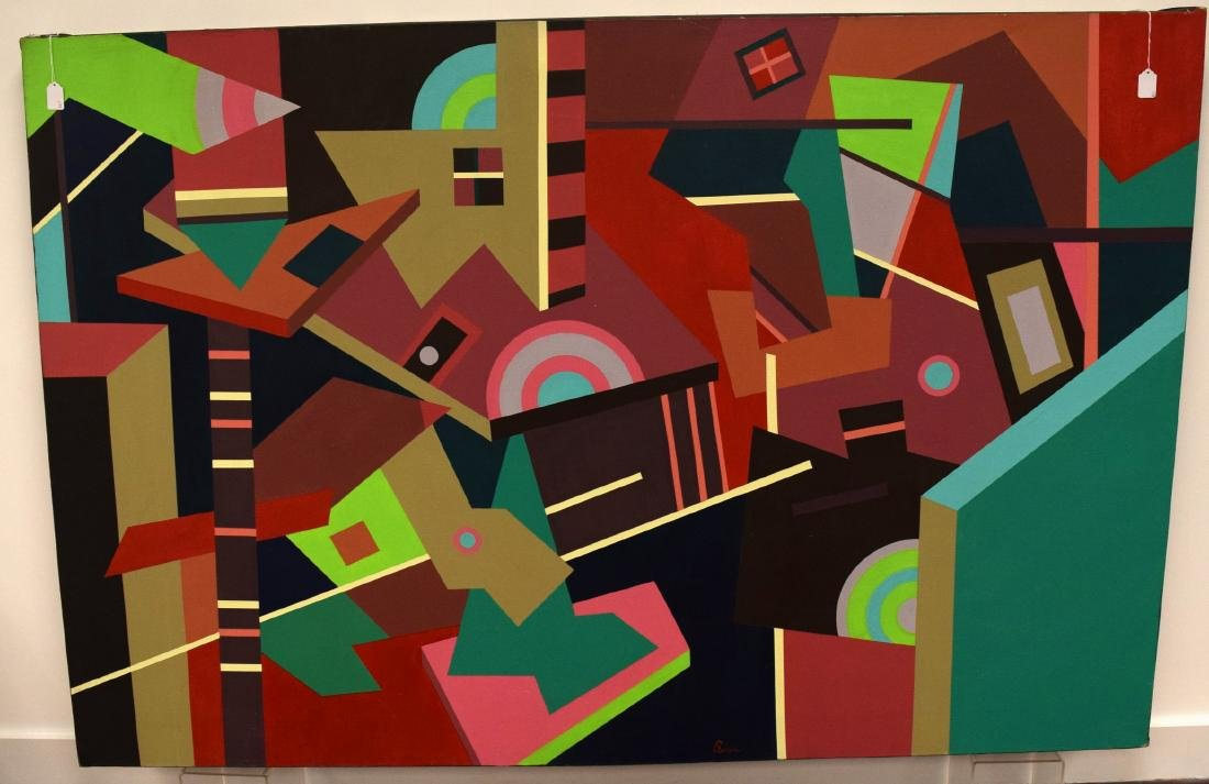 PETER BUSA ABSTRACT OIL PAINTING: