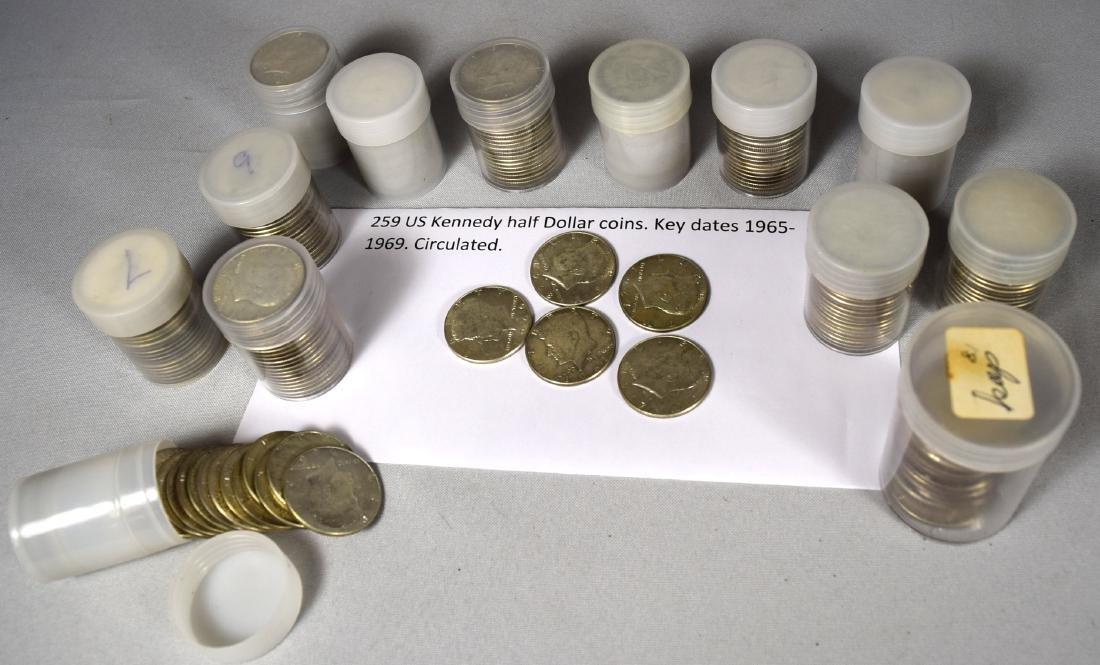 259 KENNEDY HALF DOLLAR SILVER COINS: