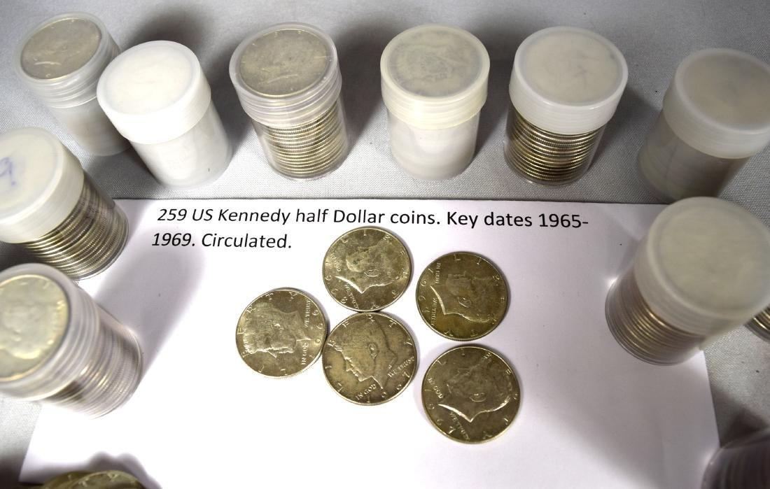 259 KENNEDY HALF DOLLAR SILVER COINS: - 2