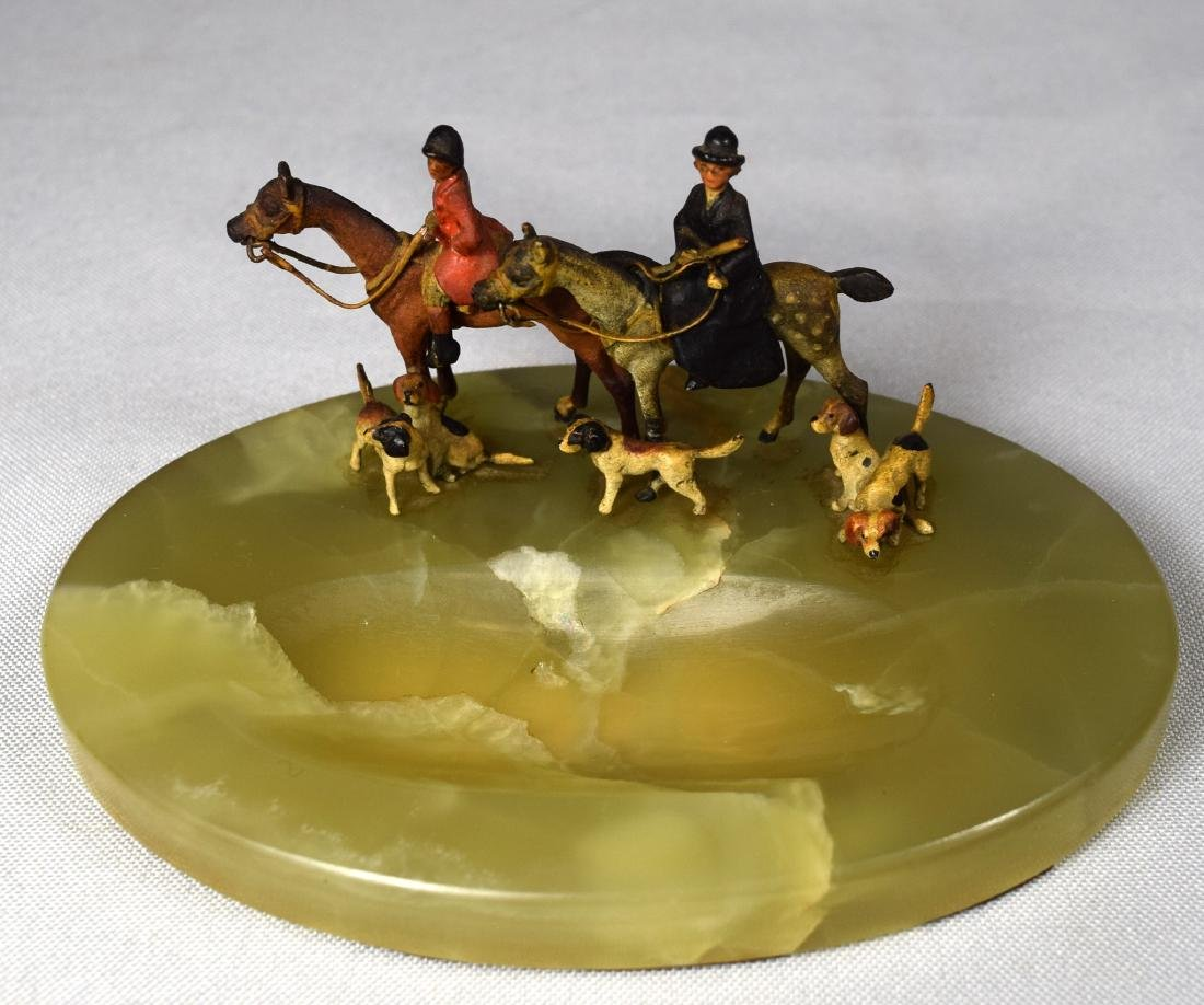 MINIATURE FOX HUNT COLD PAINTED BRONZE GROUPING ONYX