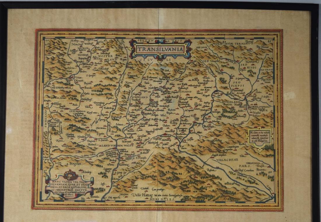 16TH C. MAP OF TRANSILVANIA/ROMANIA: