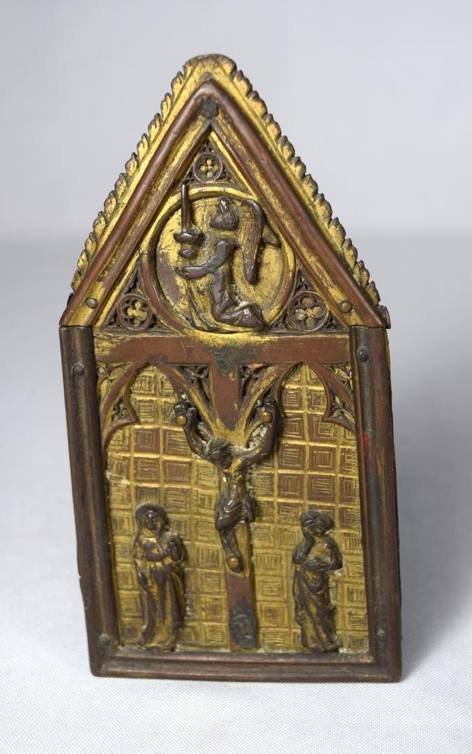 16TH/17TH C. CONTINENTAL RELIGIOUS BRONZE CRUCIFIX