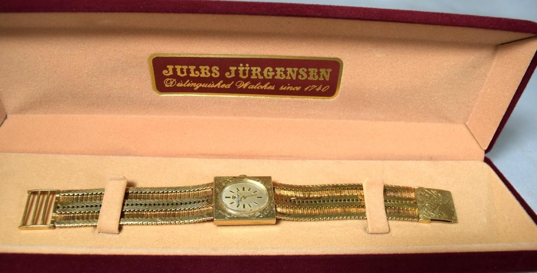 14KT YELLOW GOLD JULES JURGENSEN WRIST WATCH: