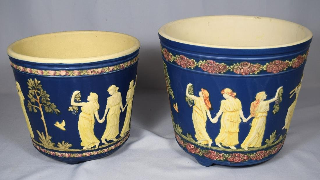 TWO WELLER BLUE WARE CLASSICAL JARDINIERES: