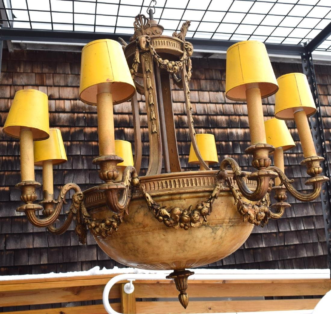 EIGHT ARM CARVED WOOD & ALABASTER CHANDELIER: