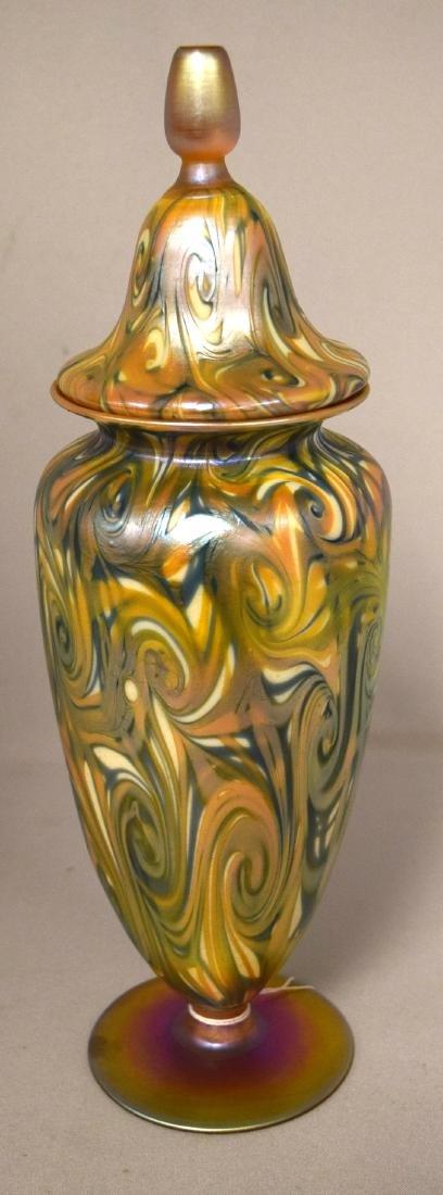 SIGNED QUEZAL ART GLASS COVERED URN