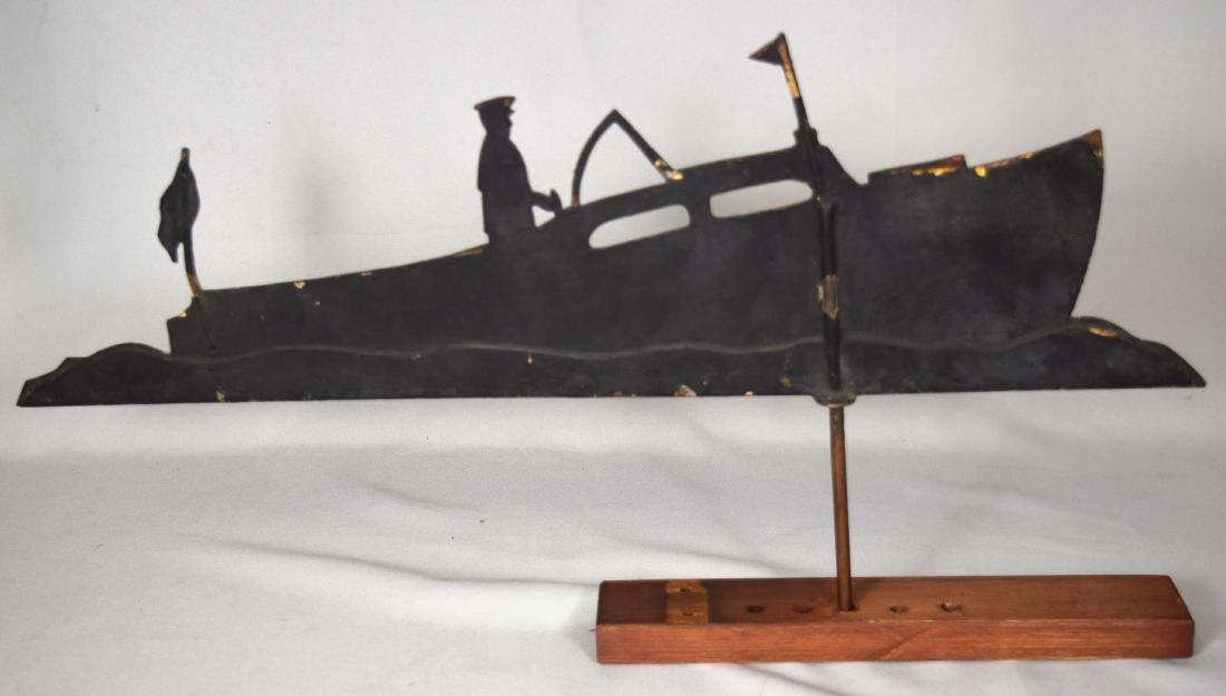 CA. 1920 S SHEET METAL SPEED BOAD WEATHERVANE