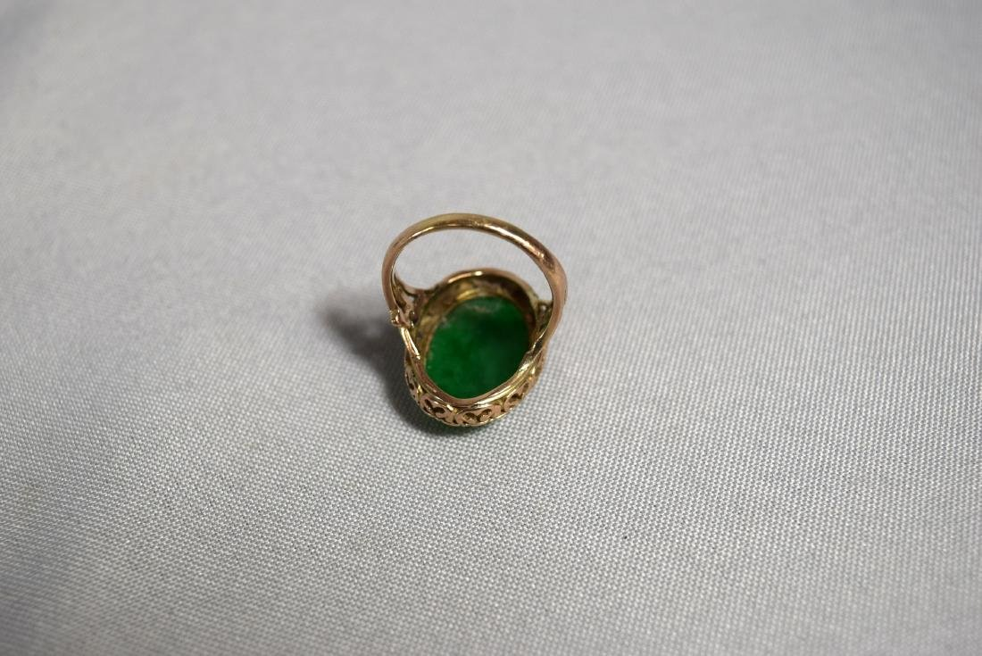 14KT GOLD & OVAL JADEITE CABOCHON RING: - 3