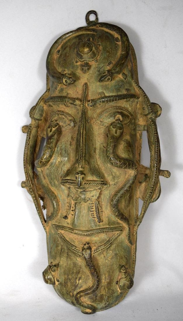 LARGE INDIAN BRONZE TRIBAL WALL MASK: