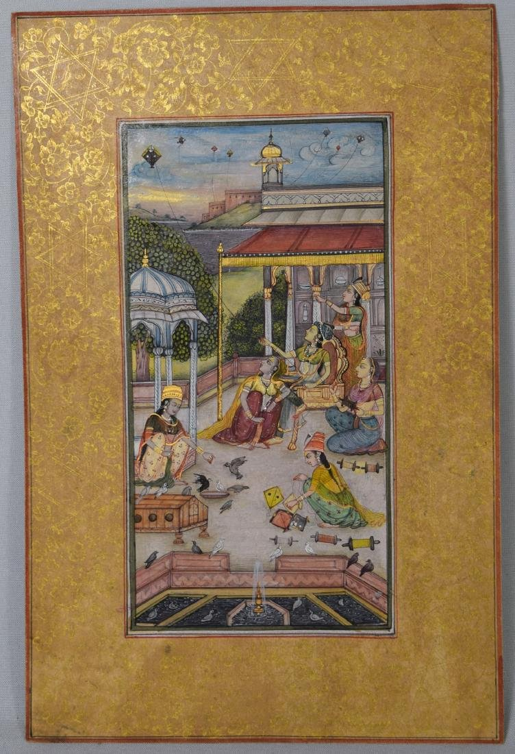 INDIAN MINIATURE COURT SCENE PAINTING: