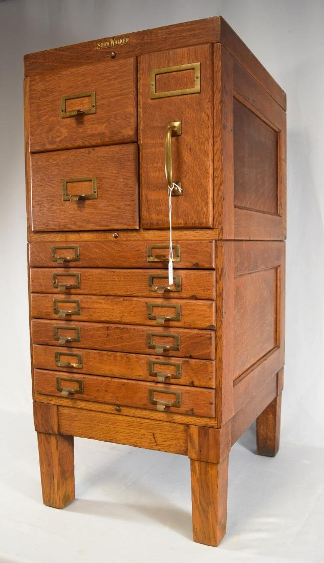 SHAW WALKER OAK FILE CABINET: