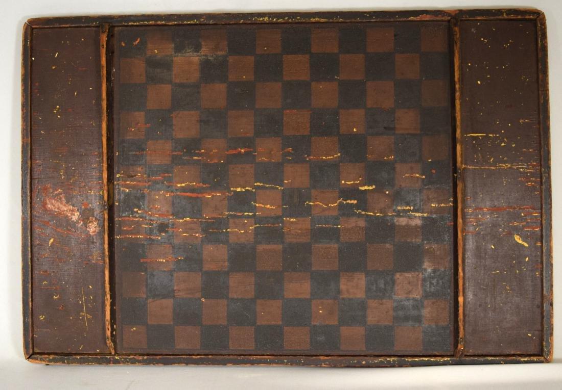 EARLY DOUBLE SIDED AMERICAN FOLK ART GAME BOARD: