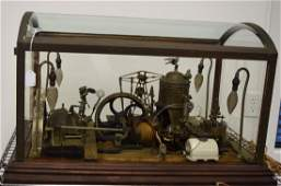 EARLY GLASS CASED STEAM ENGINE MECHANICAL ELECTRIC