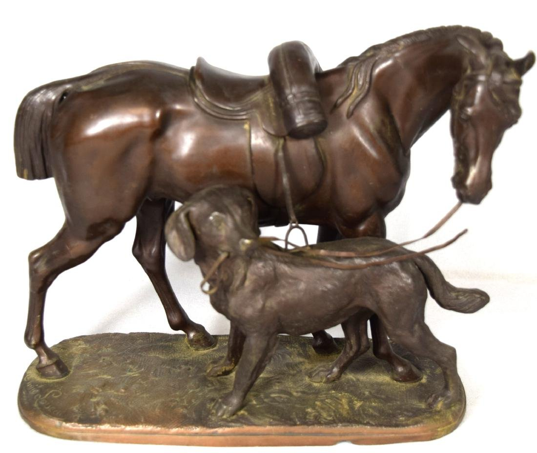 BRONZE FINISH SMELTER SCULPTURE OF HORSE & DOG: