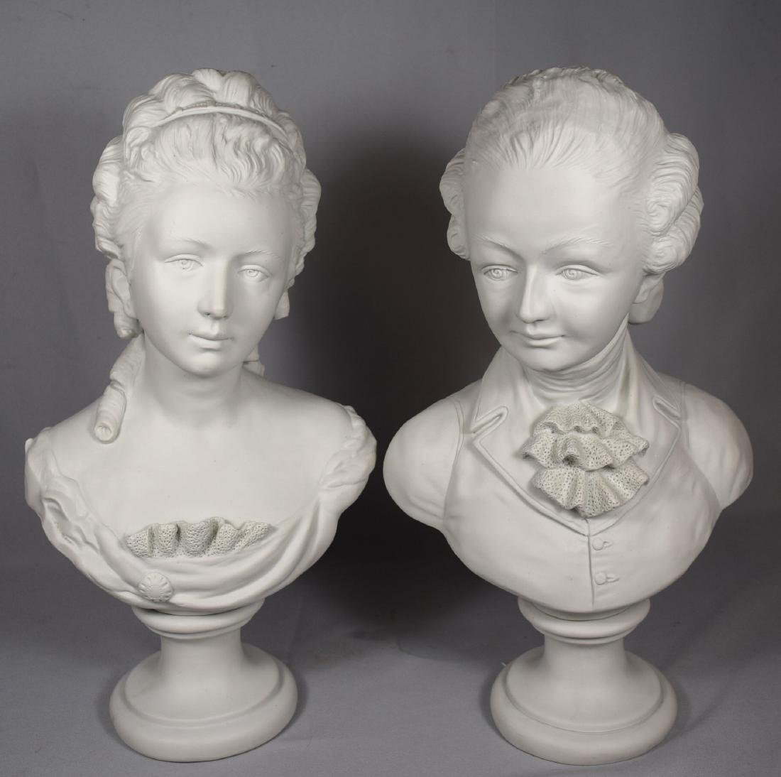 PAIR OF FRENCH PARIAN BUSTS: