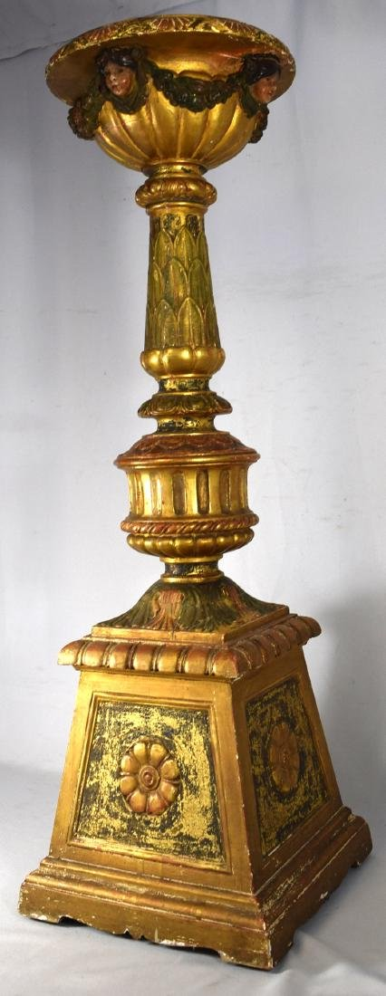 DECORATIVE CONTINENTAL GESSO & GILTWOOD PEDESTAL: