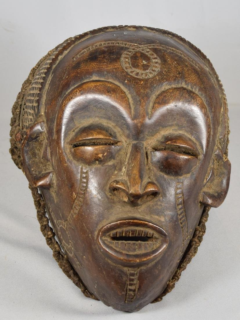 LIBERIAN DAN DEANGLE CARVED WOOD HELMET MASK: