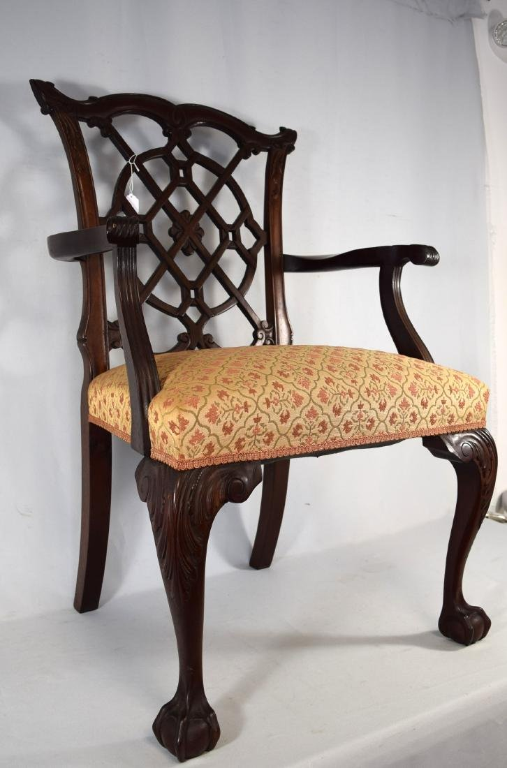 MAHOGANY CHIPPENDALE STYLE CARVED ARM CHAIR: