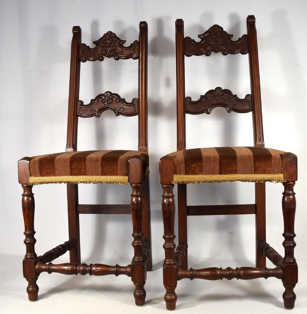 PAIR OF JACOBEAN STYLE CARVED SIDE CHAIRS: