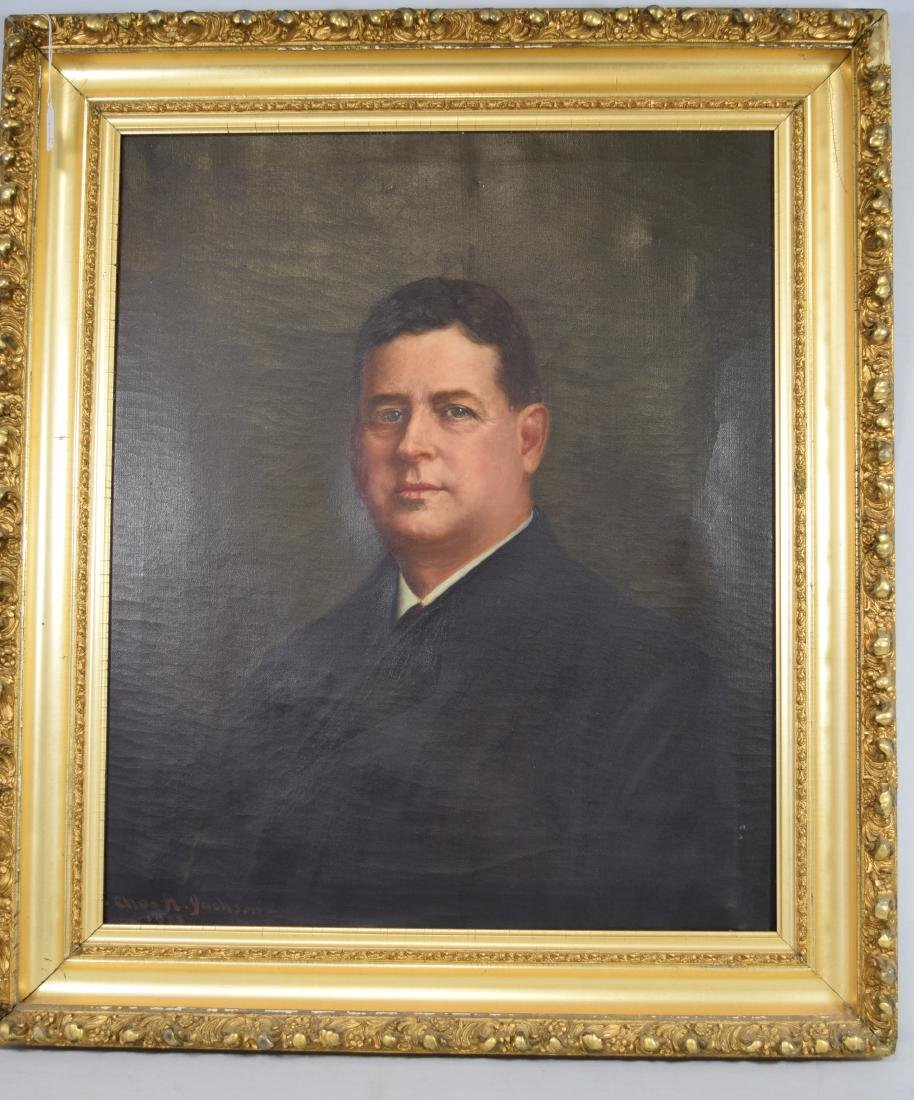 1908 AMERICAN PORTRAIT OIL PAINTING BY CHARLES A.