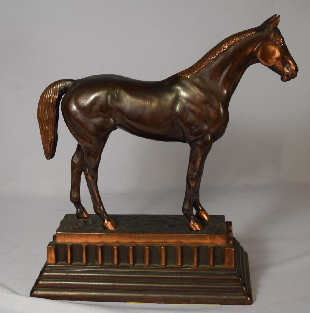 BRONZED METAL THOROUGHBRED HORSE SCULPTURE: