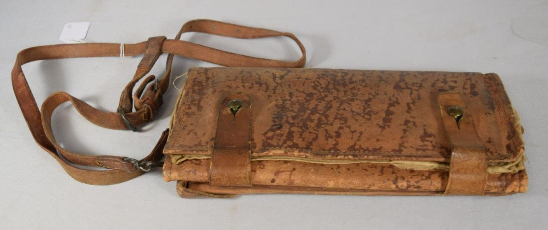 WORLD WAR I or II LEATHER DOCUMENT FOLDING CASE with