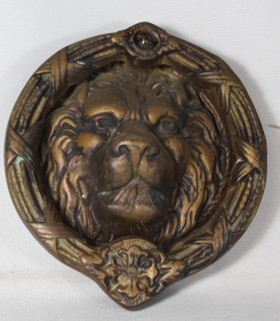 LARGE BRASS LION HEAD DOOR KNOCKER: