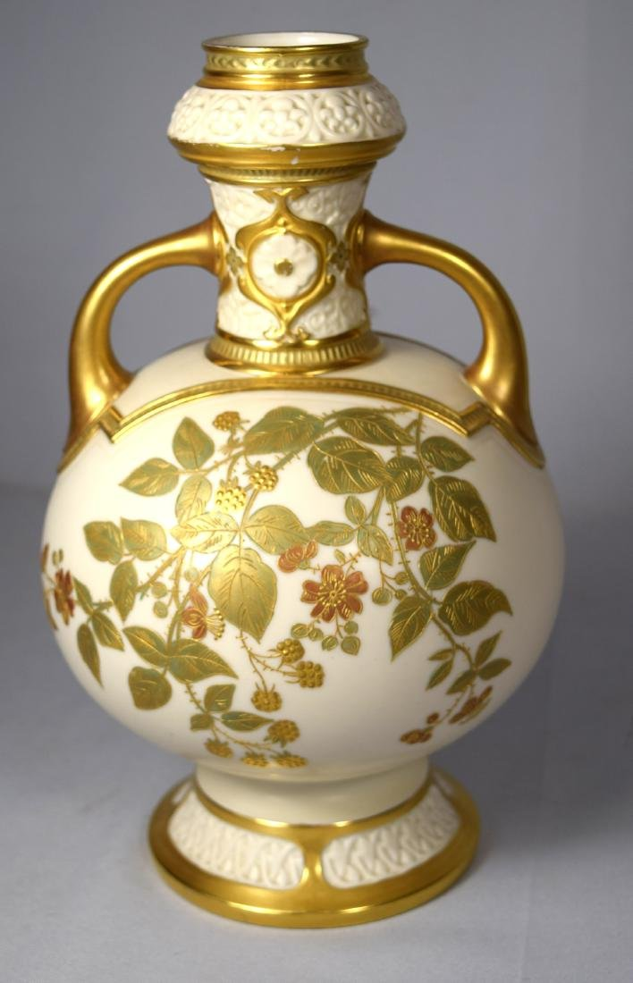 ROYAL WORCESTER DOUBLE HANDLE FOOTED VASE: