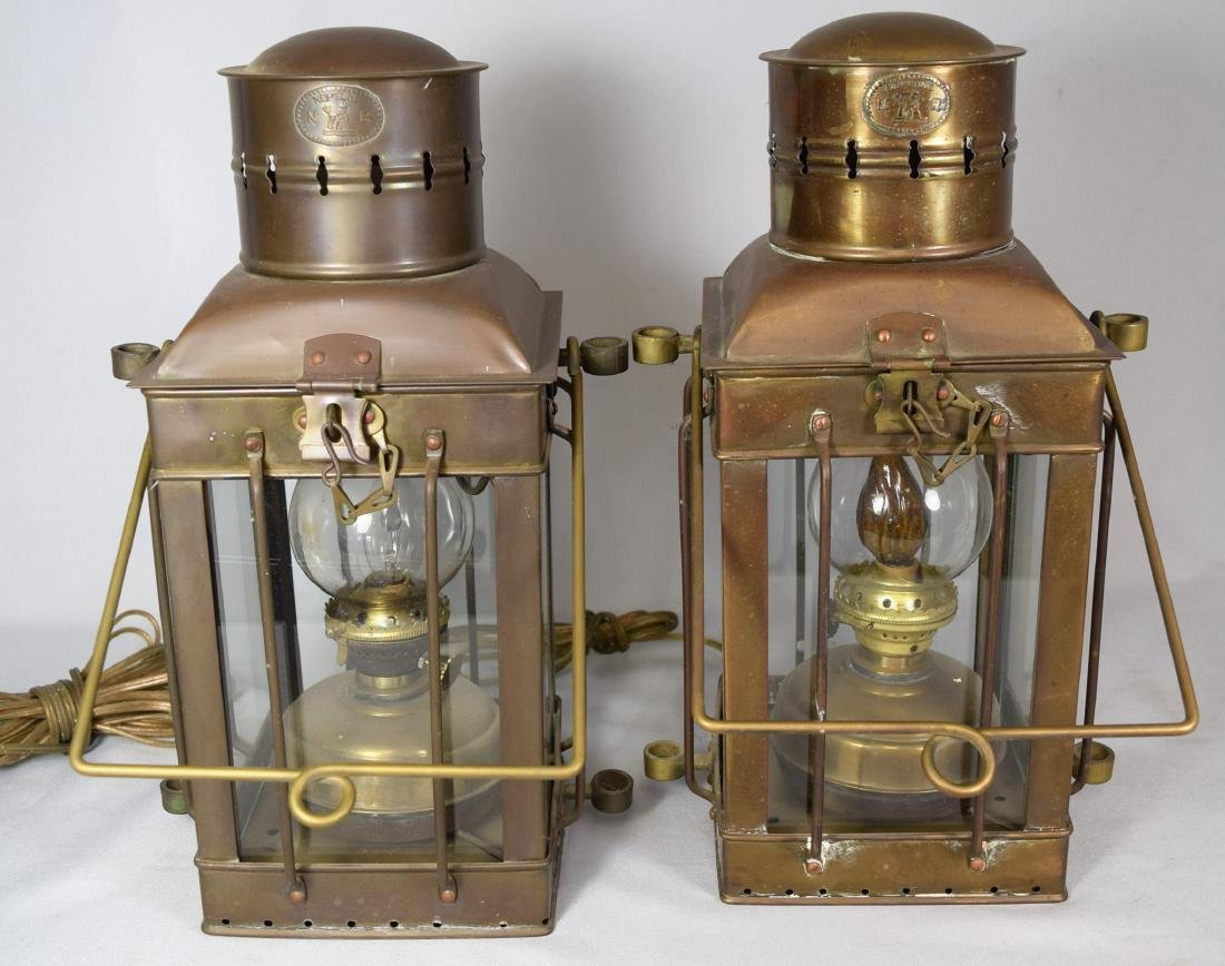 PAIR OF VINTAGE BRASS NAUTICAL LANTERNS by NEPTUNE:
