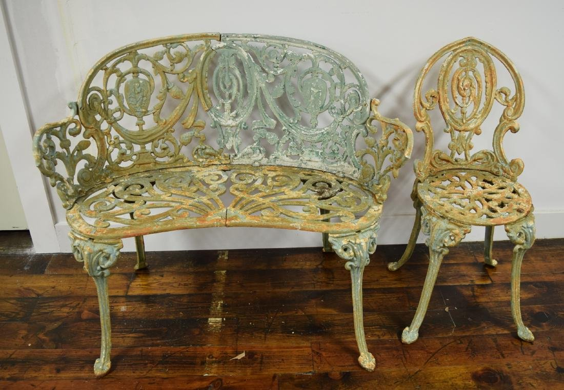 CAST IRON GARDEN SETTEE & SIDE CHAIR: