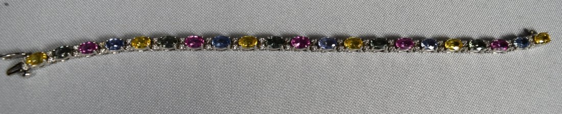 MULTI COLORED SAPPHIRE, DIAMOND & W14KT WHITE GOLD