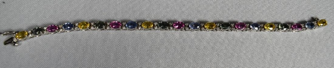 MULTI COLORED SAPPHIRE, DIAMOND & W14KT WHITE GOLD - 2