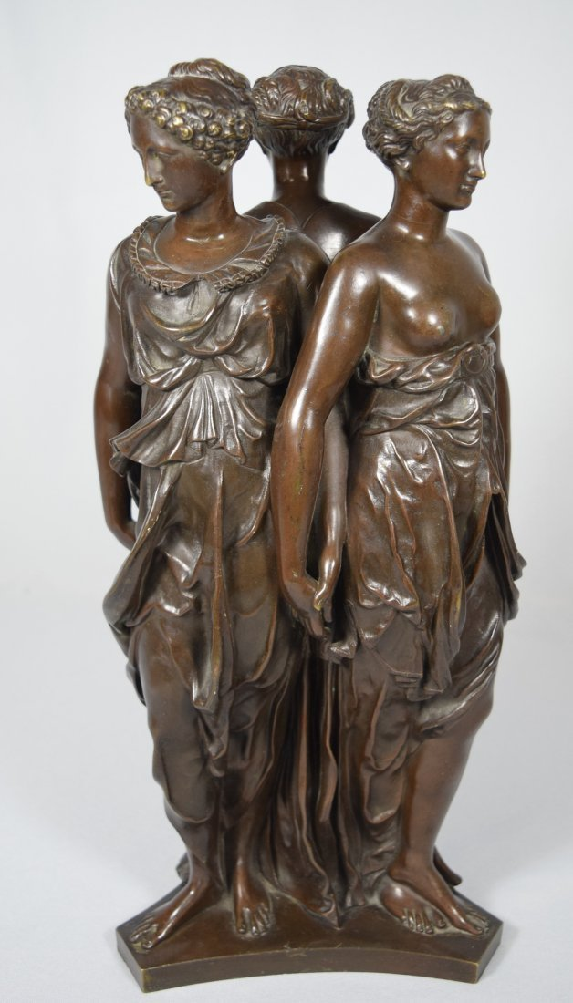 19TH C BRONZE AFTER GERMAINE POLIN THREE GRACES: