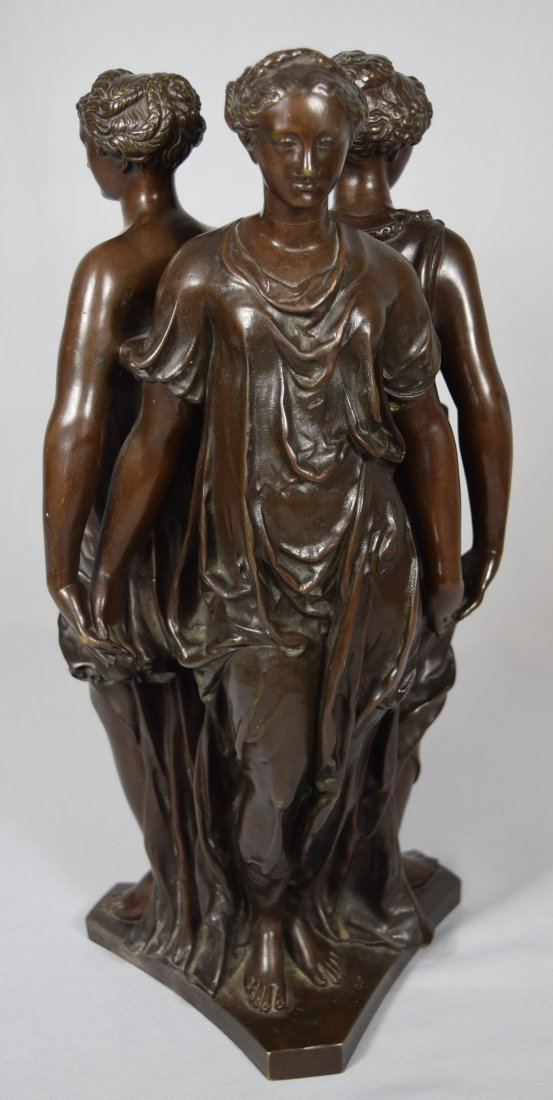 19TH C BRONZE AFTER GERMAINE POLIN THREE GRACES: - 2