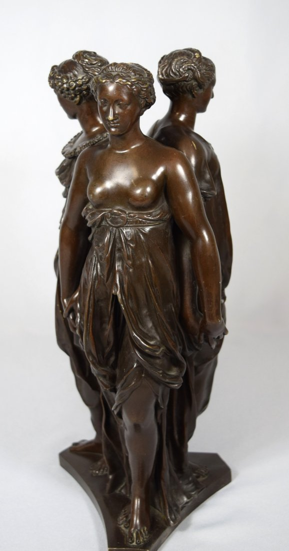 19TH C BRONZE AFTER GERMAINE POLIN THREE GRACES: - 4
