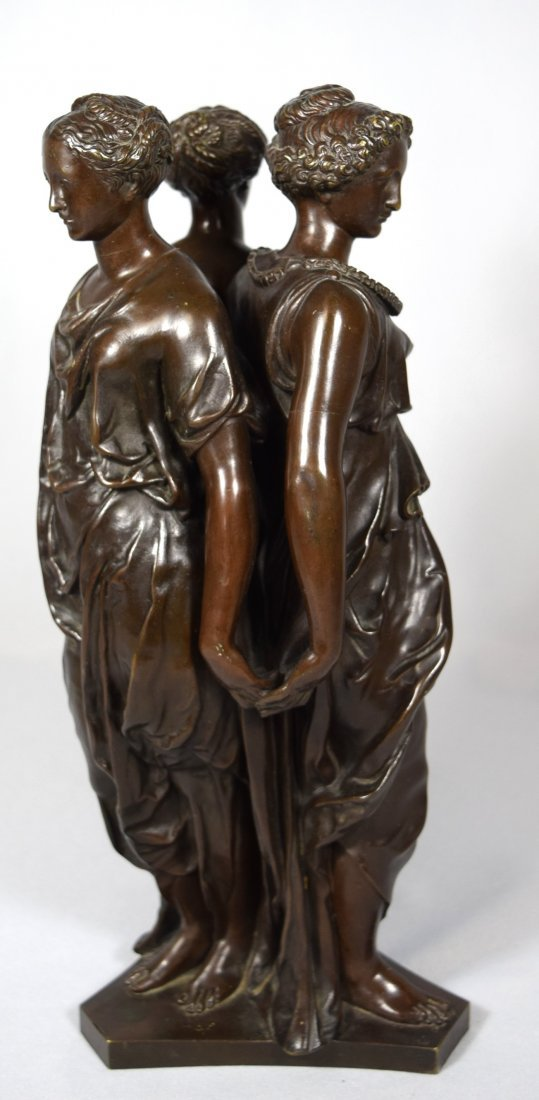 19TH C BRONZE AFTER GERMAINE POLIN THREE GRACES: - 5
