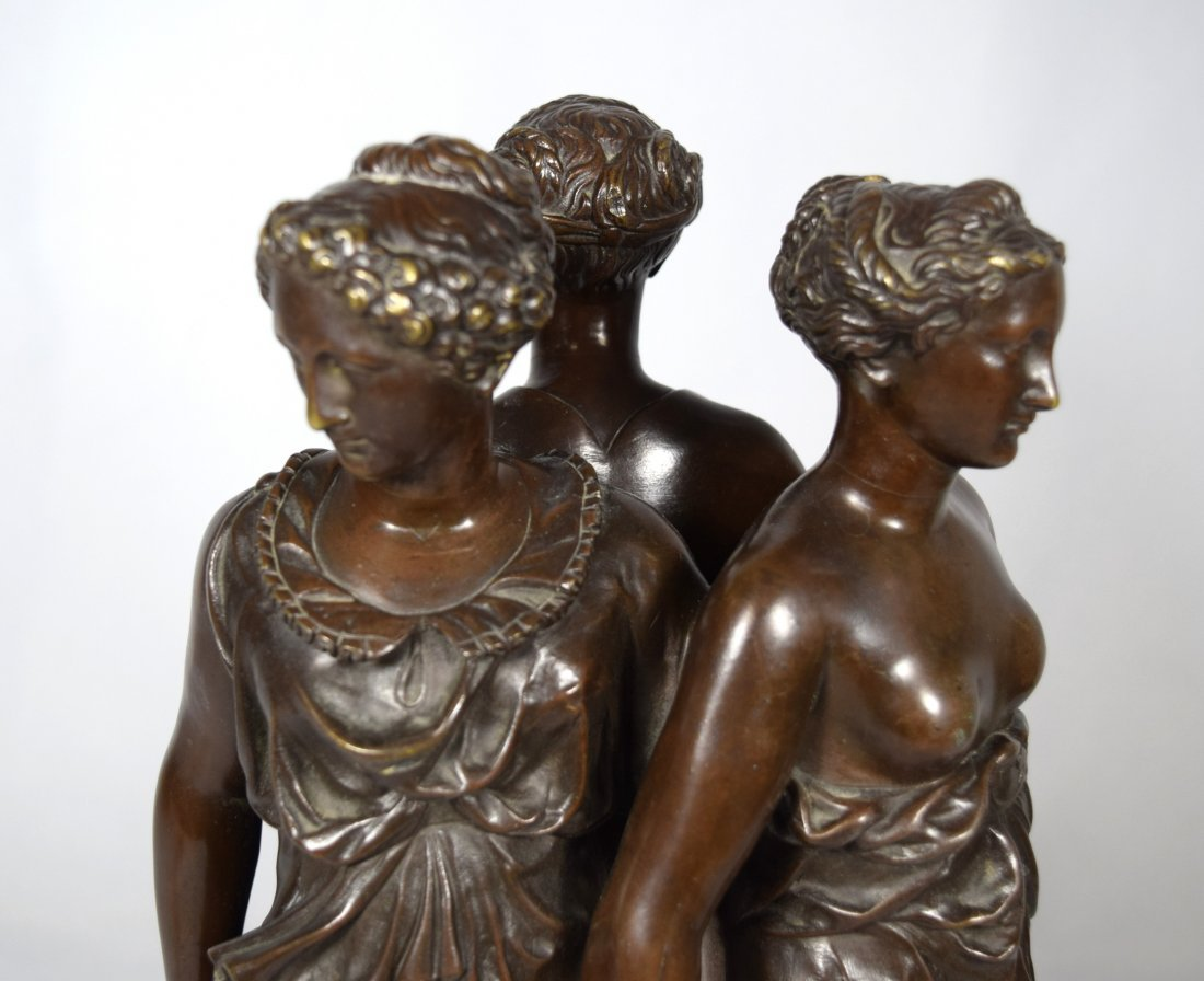 19TH C BRONZE AFTER GERMAINE POLIN THREE GRACES: - 6