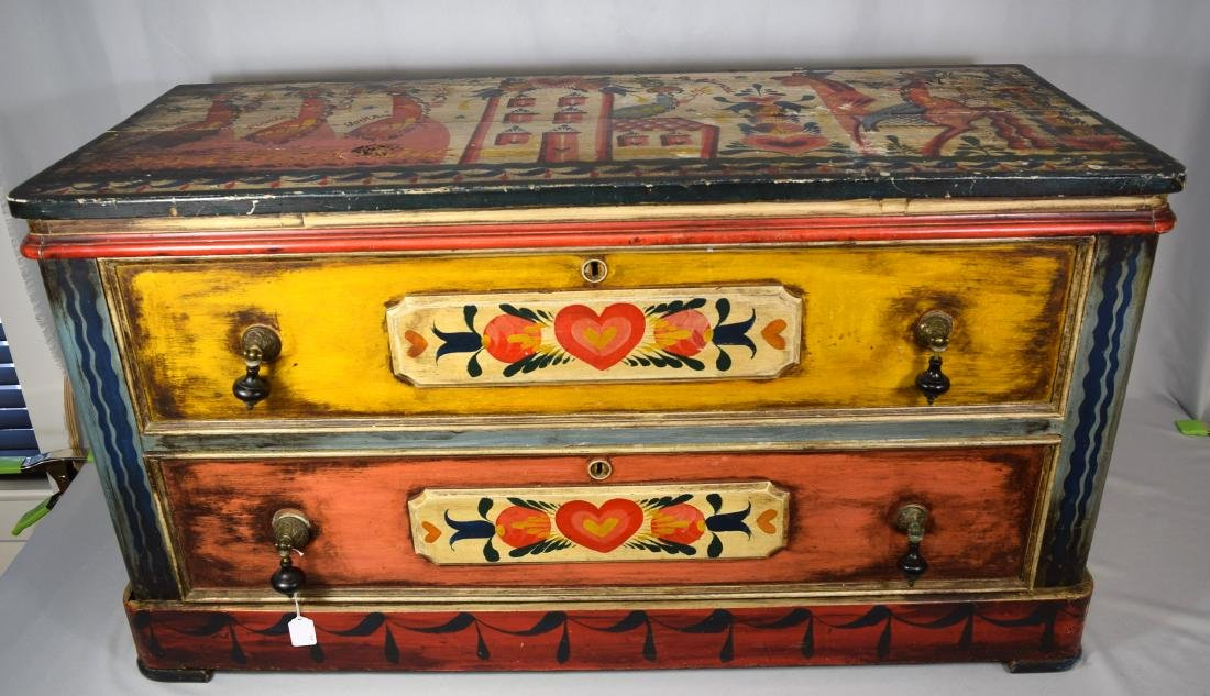 PETER HUNT DECORATED PAINTED TWO DRAW CHEST: