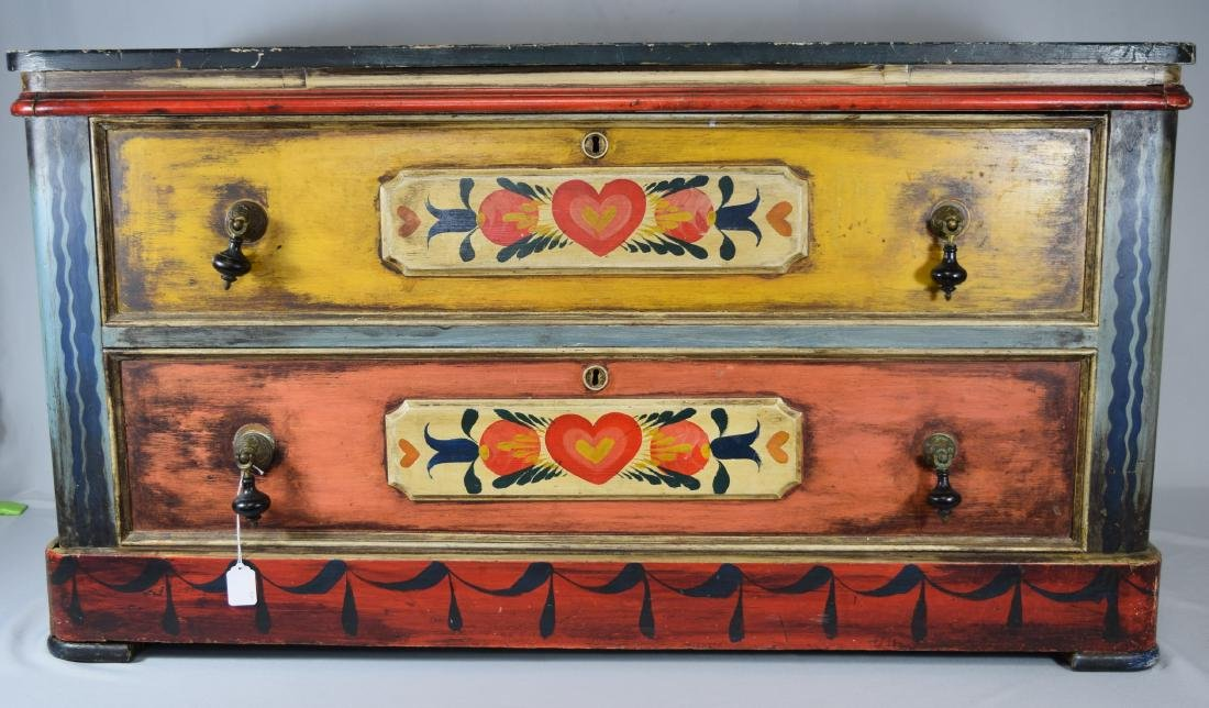 PETER HUNT DECORATED PAINTED TWO DRAW CHEST: - 2