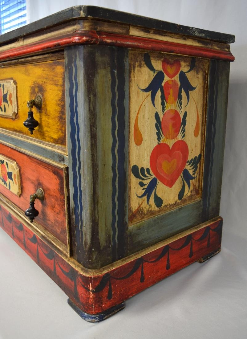 PETER HUNT DECORATED PAINTED TWO DRAW CHEST: - 4