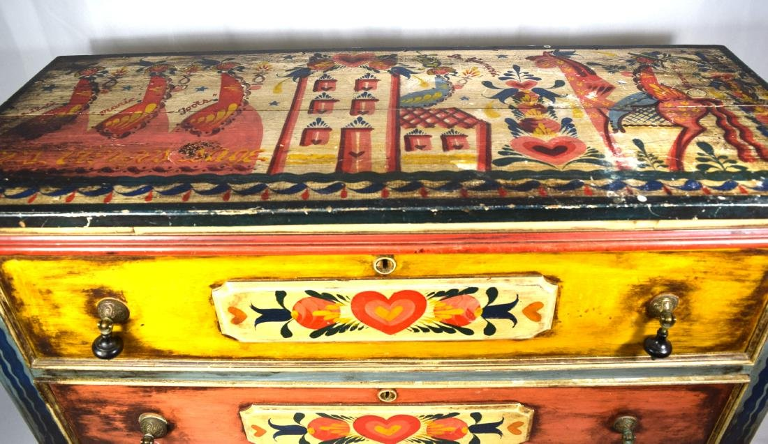 PETER HUNT DECORATED PAINTED TWO DRAW CHEST: - 6
