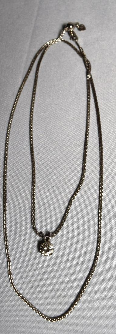 14KT WHITE GOLD CHAIN & DIAMOND NECKLACE: